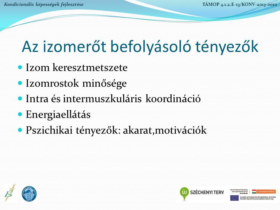 Eurofit tesztrendszer értékelési kategóriái Kiváló Jó Gyenge Megfelelt Nem felelt meg Kondicionális képességek fejlesztése TÁMOP 4.1.2.E-13/KONV-2013-0010