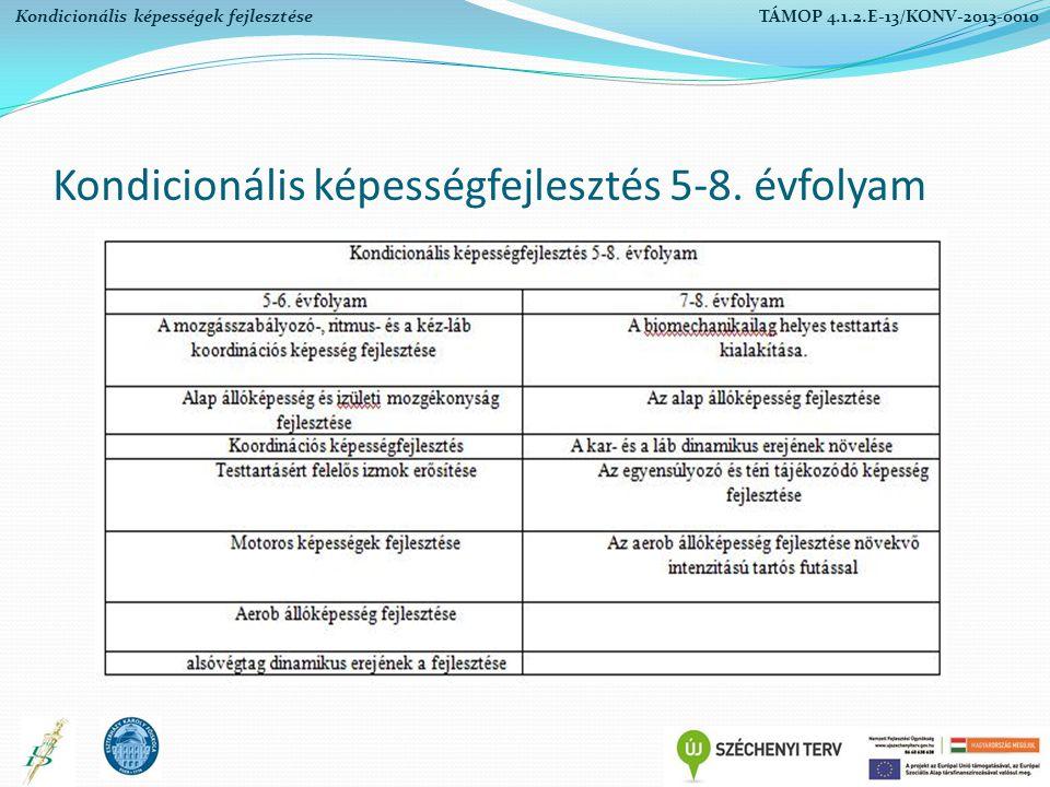 Kondicionális képességfejlesztés 5-8. évfolyam Kondicionális képességek fejlesztése TÁMOP 4.1.2.E-13/KONV-2013-0010