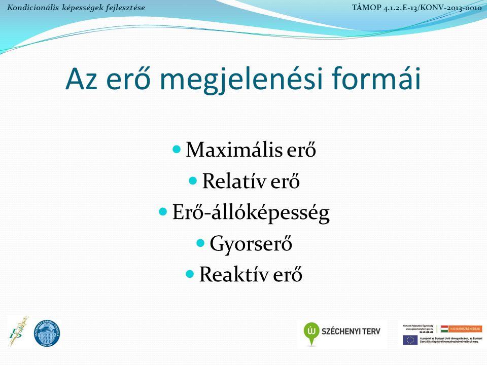 Az erő megjelenési formái Maximális erő Relatív erő Erő-állóképesség Gyorserő Reaktív erő Kondicionális képességek fejlesztése TÁMOP 4.1.2.E-13/KONV-2