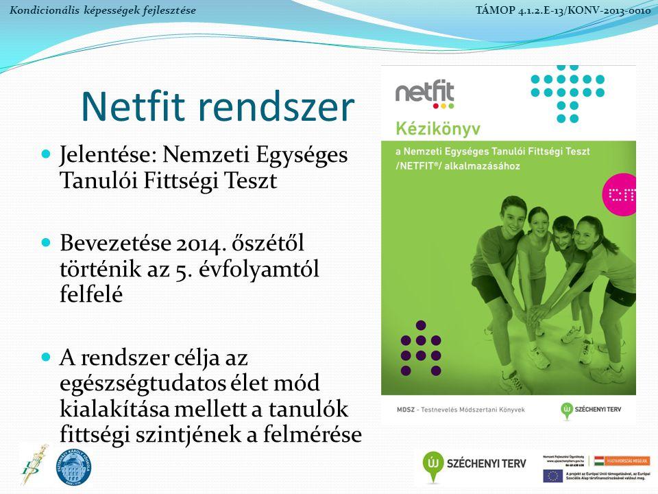 Netfit rendszer Jelentése: Nemzeti Egységes Tanulói Fittségi Teszt Bevezetése 2014. őszétől történik az 5. évfolyamtól felfelé A rendszer célja az egé