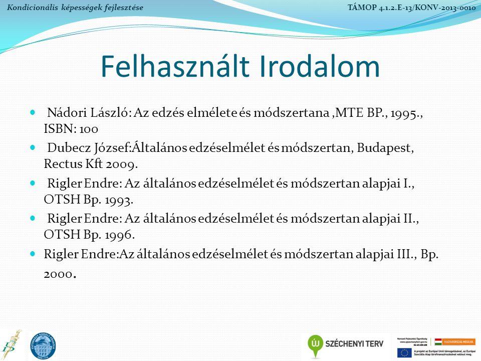 Felhasznált Irodalom Nádori László: Az edzés elmélete és módszertana,MTE BP., 1995., ISBN: 100 Dubecz József:Általános edzéselmélet és módszertan, Bud