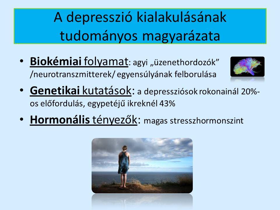 """A depresszió kialakulásának tudományos magyarázata Biokémiai folyamat : agyi """"üzenethordozók"""" /neurotranszmitterek/ egyensúlyának felborulása Genetika"""
