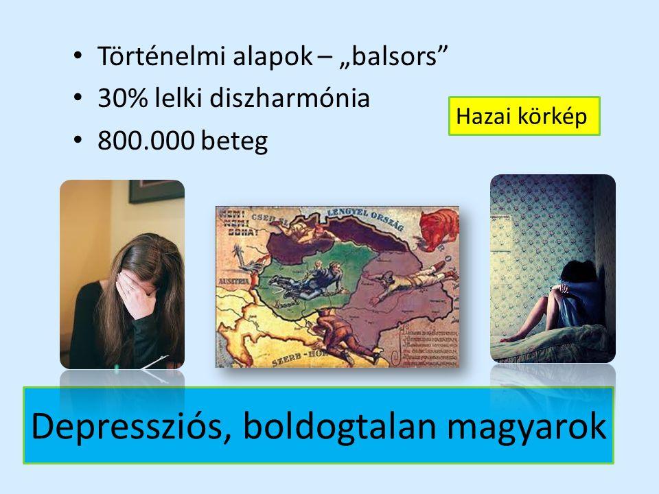 """Depressziós, boldogtalan magyarok Történelmi alapok – """"balsors"""" 30% lelki diszharmónia 800.000 beteg Hazai körkép"""