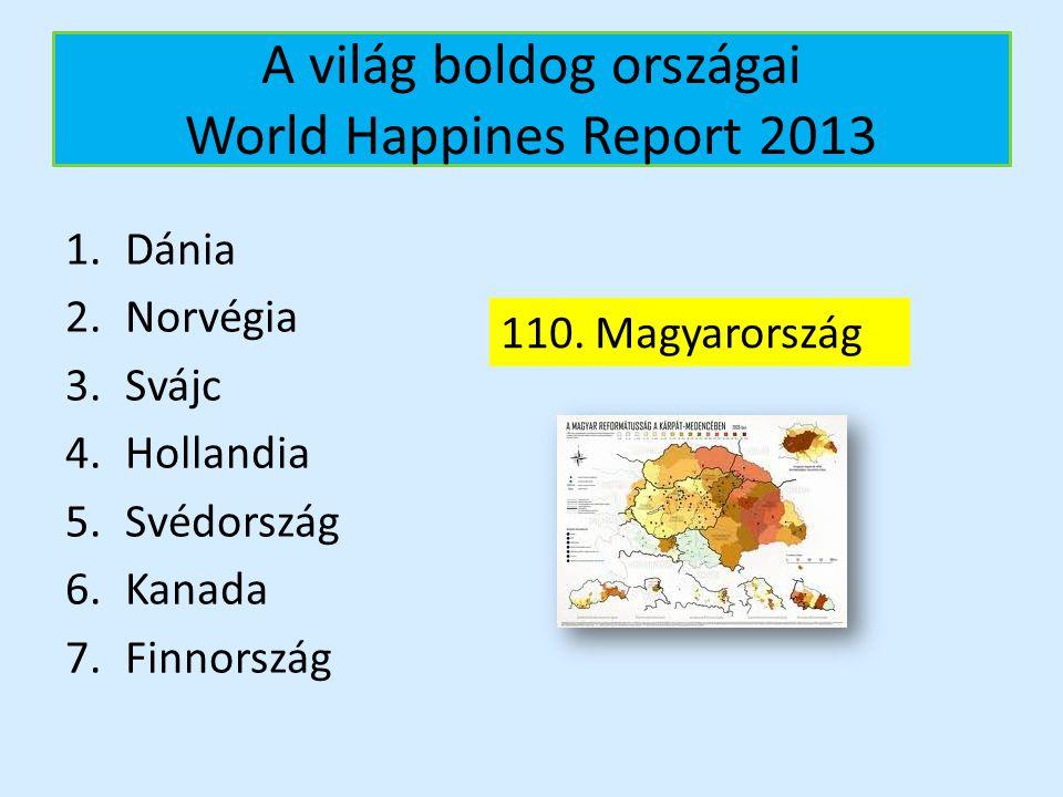 A világ boldog országai World Happines Report 2013 1.Dánia 2.Norvégia 3.Svájc 4.Hollandia 5.Svédország 6.Kanada 7.Finnország 110. Magyarország