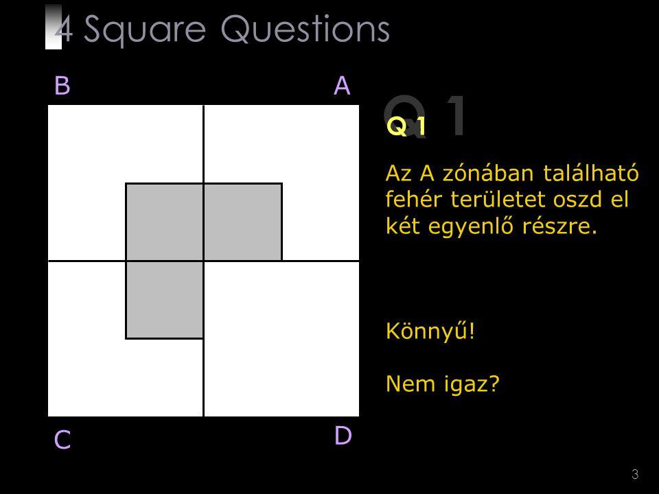 3 Q 1 Az A zónában található fehér területet oszd el két egyenlő részre. Könnyű! Nem igaz? BA D C 4 Square Questions
