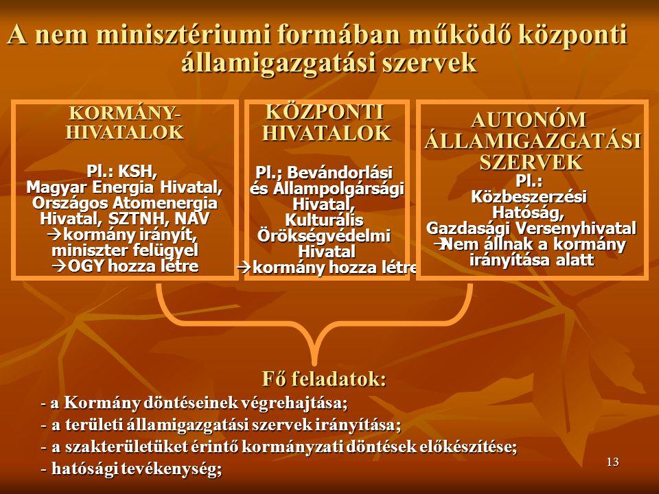 13 A nem minisztériumi formában működő központi államigazgatási szervek KORMÁNY-HIVATALOK Pl.: KSH, Magyar Energia Hivatal, Országos Atomenergia Hivatal, SZTNH, NAV  kormány irányít, miniszter felügyel  OGY hozza létre KÖZPONTIHIVATALOK Pl.: Bevándorlási és Állampolgársági Hivatal,KulturálisÖrökségvédelmiHivatal  kormány hozza létre AUTONÓMÁLLAMIGAZGATÁSISZERVEKPl.: Közbeszerzési Hatóság, Gazdasági Versenyhivatal  Nem állnak a kormány irányítása alatt Fő feladatok: - a Kormány döntéseinek végrehajtása; - a területi államigazgatási szervek irányítása; - a szakterületüket érintő kormányzati döntések előkészítése; - hatósági tevékenység;