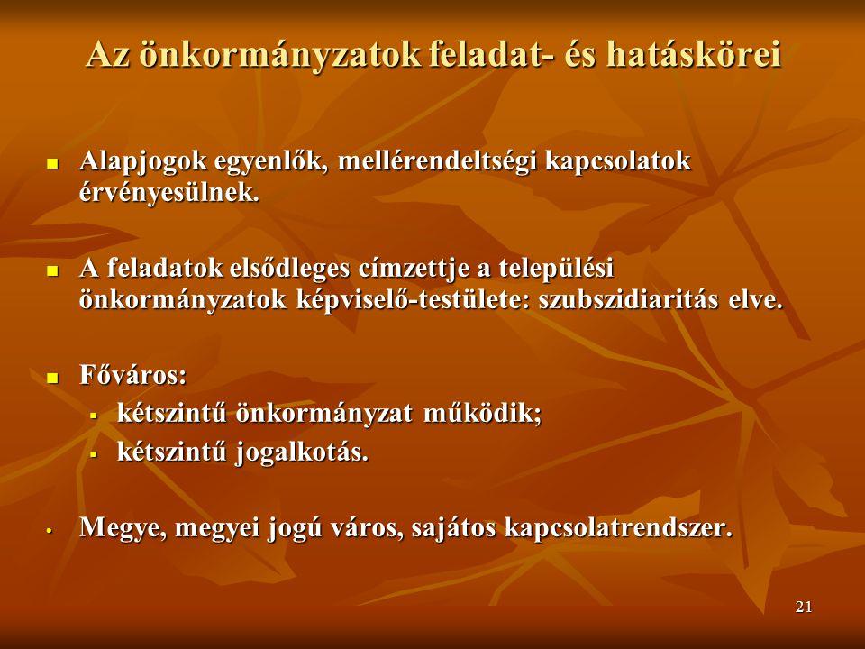 21 Az önkormányzatok feladat- és hatáskörei Alapjogok egyenlők, mellérendeltségi kapcsolatok érvényesülnek.