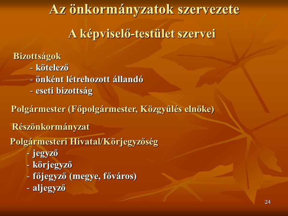 24 Az önkormányzatok szervezete A képviselő-testület szervei Bizottságok -kötelező -önként létrehozott állandó -eseti bizottság Polgármesteri Hivatal/Körjegyzőség -jegyző -körjegyző -főjegyző (megye, főváros) -aljegyző Részönkormányzat Polgármester (Főpolgármester, Közgyűlés elnöke)