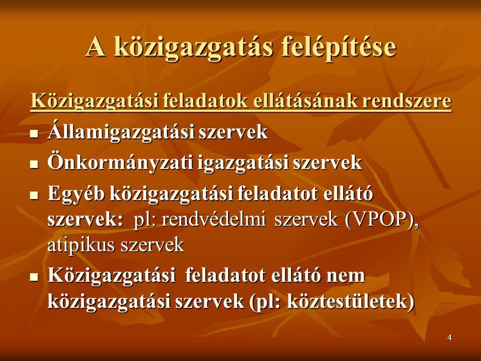 4 A közigazgatás felépítése Közigazgatási feladatok ellátásának rendszere Államigazgatási szervek Államigazgatási szervek Önkormányzati igazgatási szervek Önkormányzati igazgatási szervek Egyéb közigazgatási feladatot ellátó szervek: pl: rendvédelmi szervek (VPOP), atipikus szervek Egyéb közigazgatási feladatot ellátó szervek: pl: rendvédelmi szervek (VPOP), atipikus szervek Közigazgatási feladatot ellátó nem közigazgatási szervek (pl: köztestületek) Közigazgatási feladatot ellátó nem közigazgatási szervek (pl: köztestületek)
