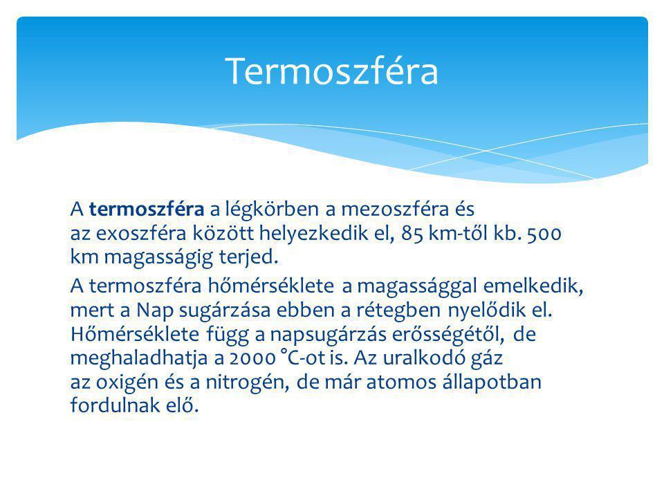 A termoszféra a légkörben a mezoszféra és az exoszféra között helyezkedik el, 85 km-től kb. 500 km magasságig terjed. A termoszféra hőmérséklete a mag