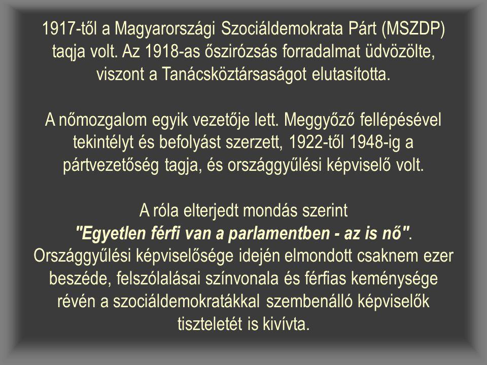 1917-től a Magyarországi Szociáldemokrata Párt (MSZDP) taqja volt.