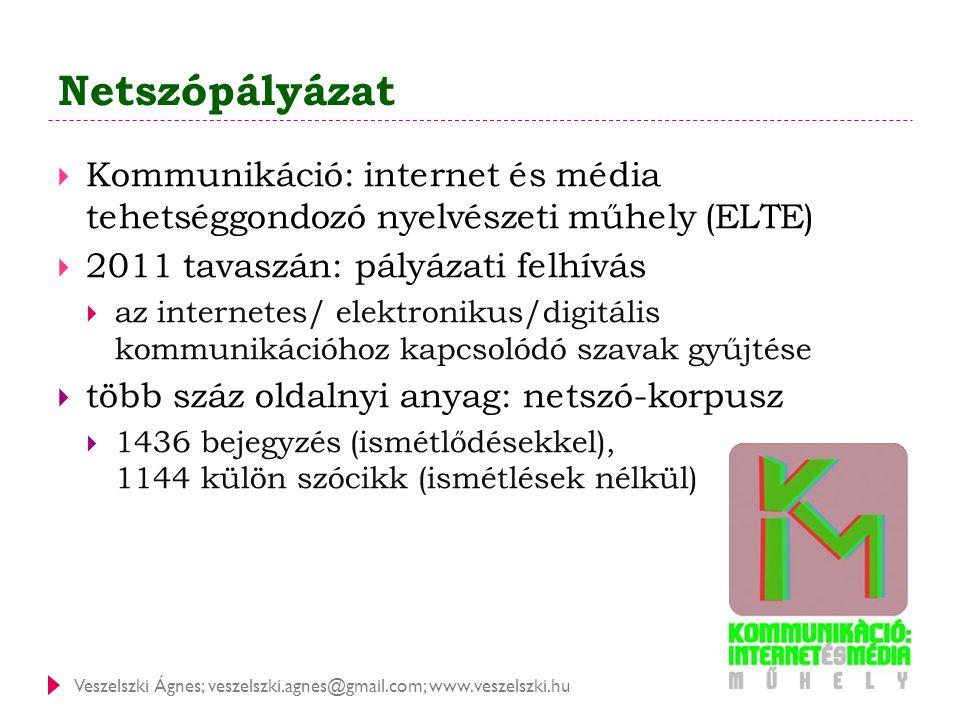 Veszelszki Ágnes; veszelszki.agnes@gmail.com; www.veszelszki.hu Netszópályázat  Kommunikáció: internet és média tehetséggondozó nyelvészeti műhely (E