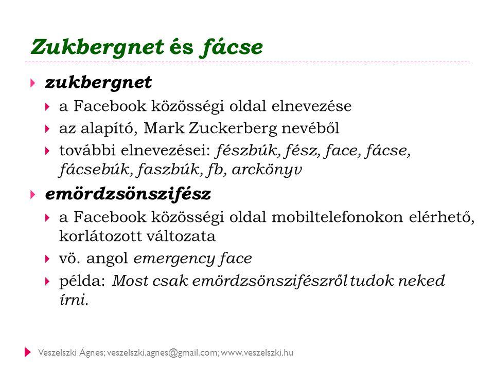 Veszelszki Ágnes; veszelszki.agnes@gmail.com; www.veszelszki.hu Zukbergnet és fácse  zukbergnet  a Facebook közösségi oldal elnevezése  az alapító,