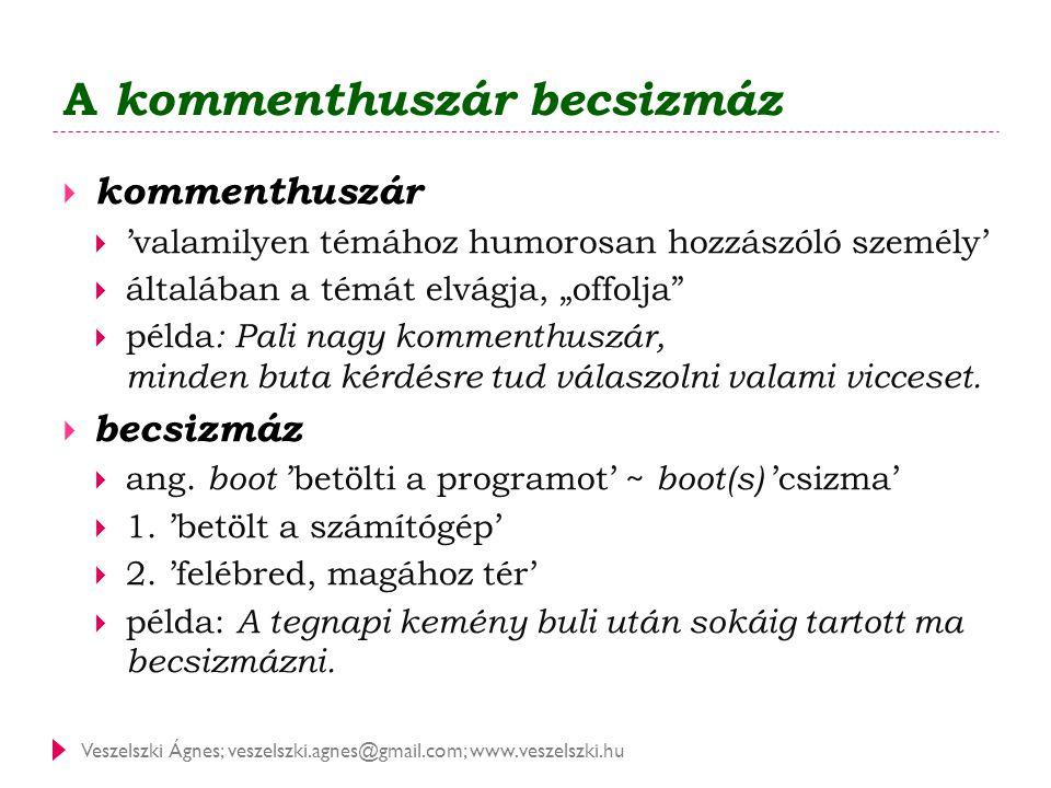 Veszelszki Ágnes; veszelszki.agnes@gmail.com; www.veszelszki.hu A kommenthuszár becsizmáz  kommenthuszár  'valamilyen témához humorosan hozzászóló s