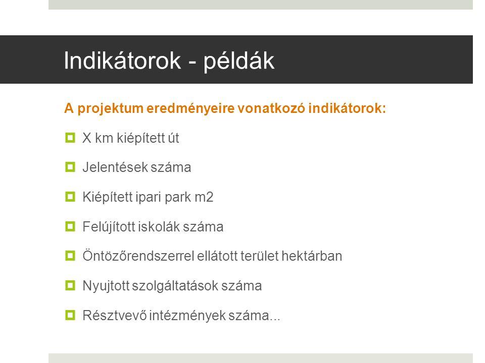 Indikátorok - példák A projektum eredményeire vonatkozó indikátorok:  X km kiépített út  Jelentések száma  Kiépített ipari park m2  Felújított isk