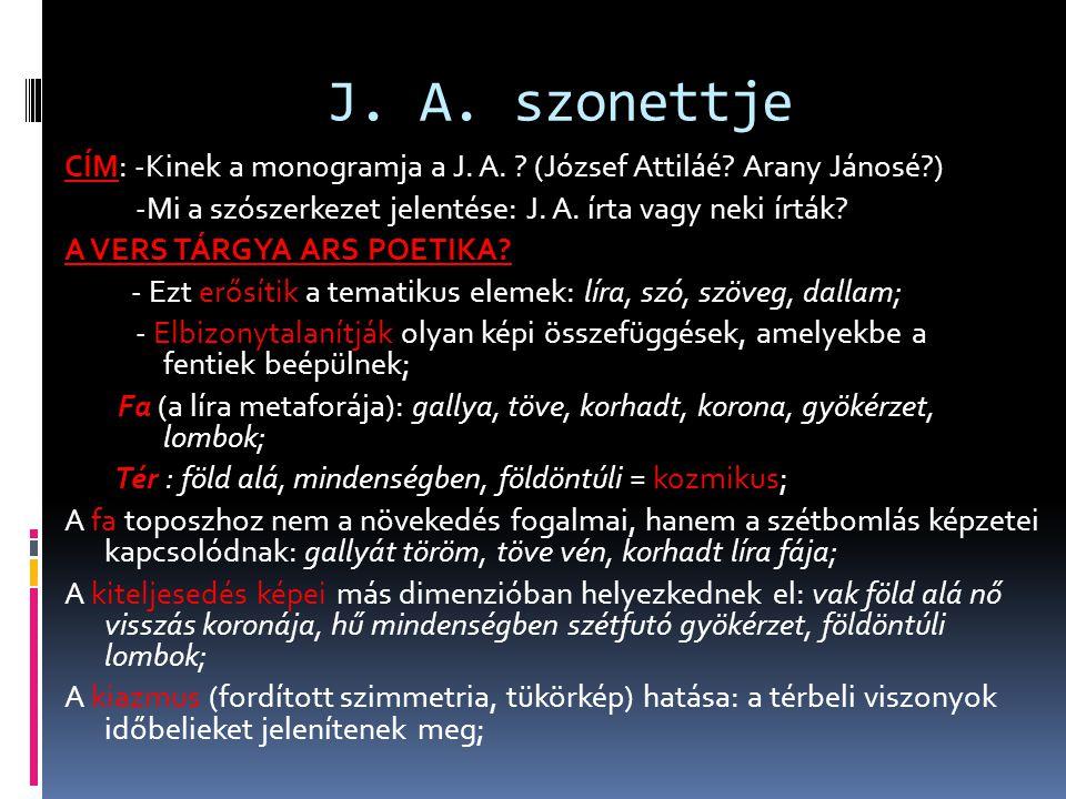 J. A. szonettje CÍM: -Kinek a monogramja a J. A. ? (József Attiláé? Arany Jánosé?) -Mi a szószerkezet jelentése: J. A. írta vagy neki írták? A VERS TÁ