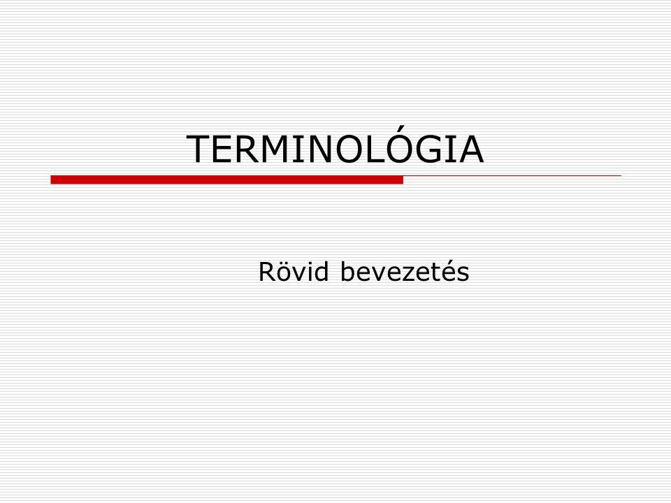 TERMINOLÓGIA Rövid bevezetés