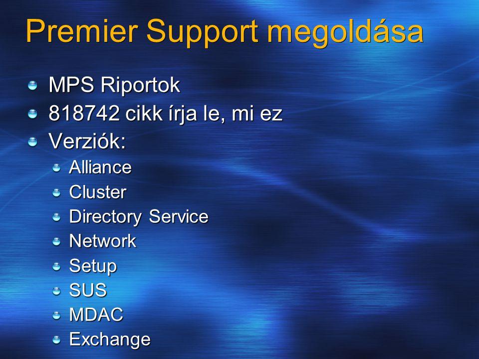 Premier Support megoldása MPS Riportok 818742 cikk írja le, mi ez Verziók:AllianceCluster Directory Service NetworkSetupSUSMDACExchange