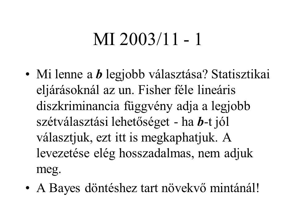 MI 2003/11 - 1 Mi lenne a b legjobb választása. Statisztikai eljárásoknál az un.