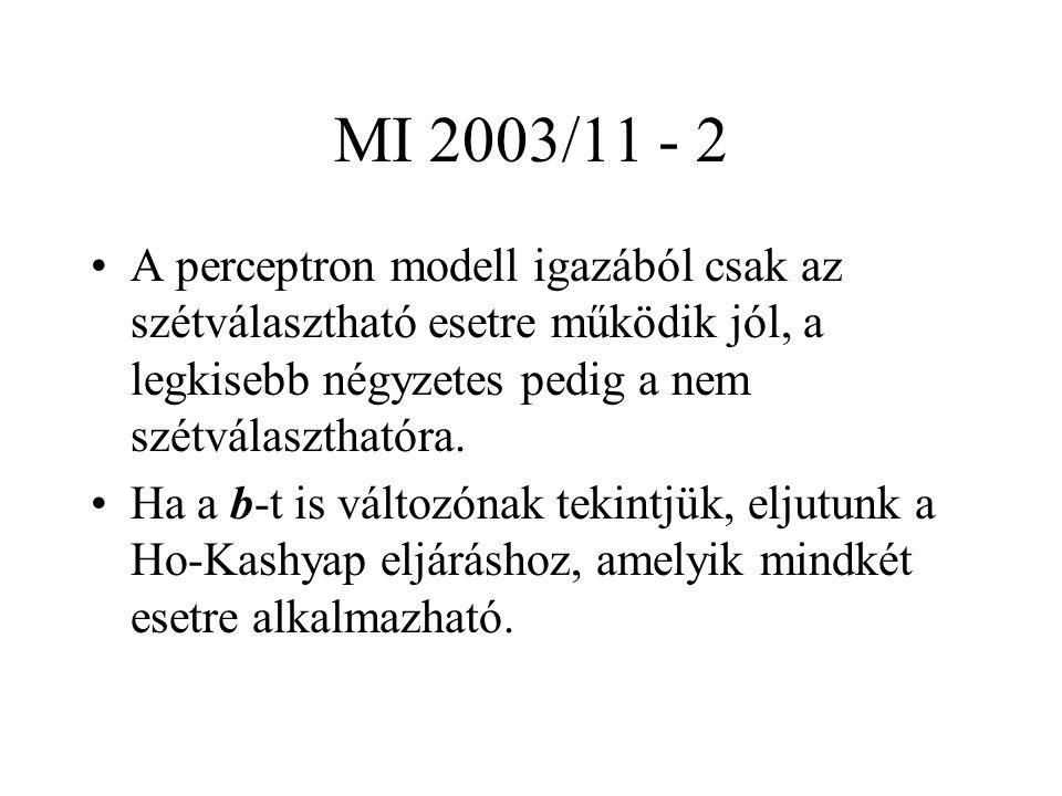 MI 2003/11 - 2 A perceptron modell igazából csak az szétválasztható esetre működik jól, a legkisebb négyzetes pedig a nem szétválaszthatóra.