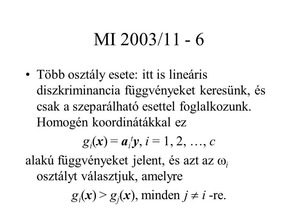 MI 2003/11 - 6 Több osztály esete: itt is lineáris diszkriminancia függvényeket keresünk, és csak a szeparálható esettel foglalkozunk.