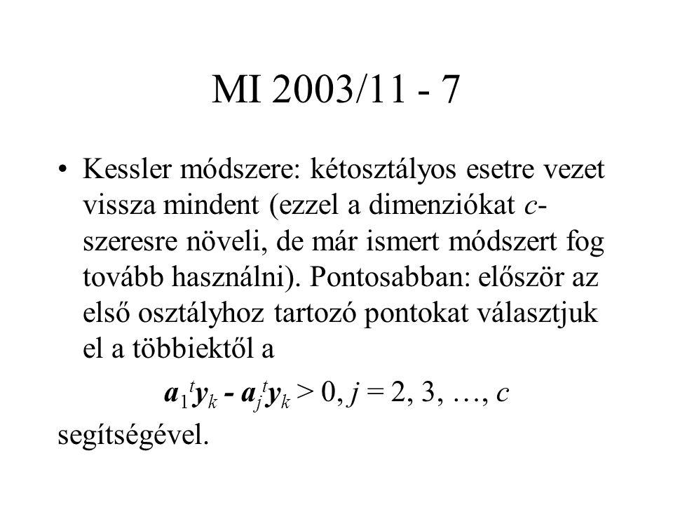MI 2003/11 - 7 Kessler módszere: kétosztályos esetre vezet vissza mindent (ezzel a dimenziókat c- szeresre növeli, de már ismert módszert fog tovább használni).