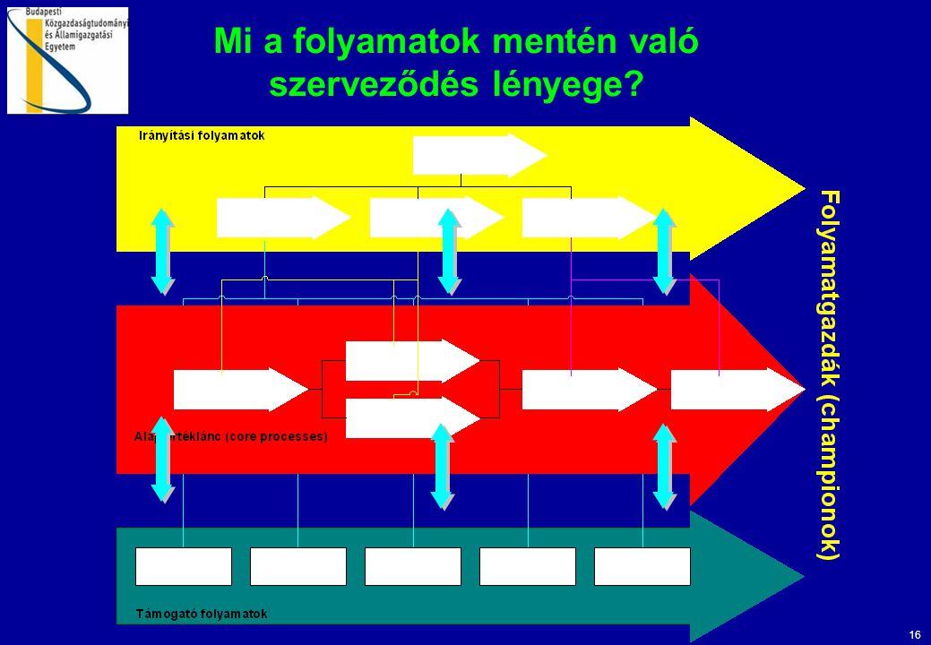 16 Mi a folyamatok mentén való szerveződés lényege?