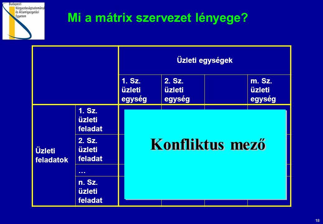 18 Mi a mátrix szervezet lényege? Üzleti egységek 1. Sz. üzleti egység 2. Sz. üzleti egység m. Sz. üzleti egység Üzleti feladatok 1. Sz. üzleti felada