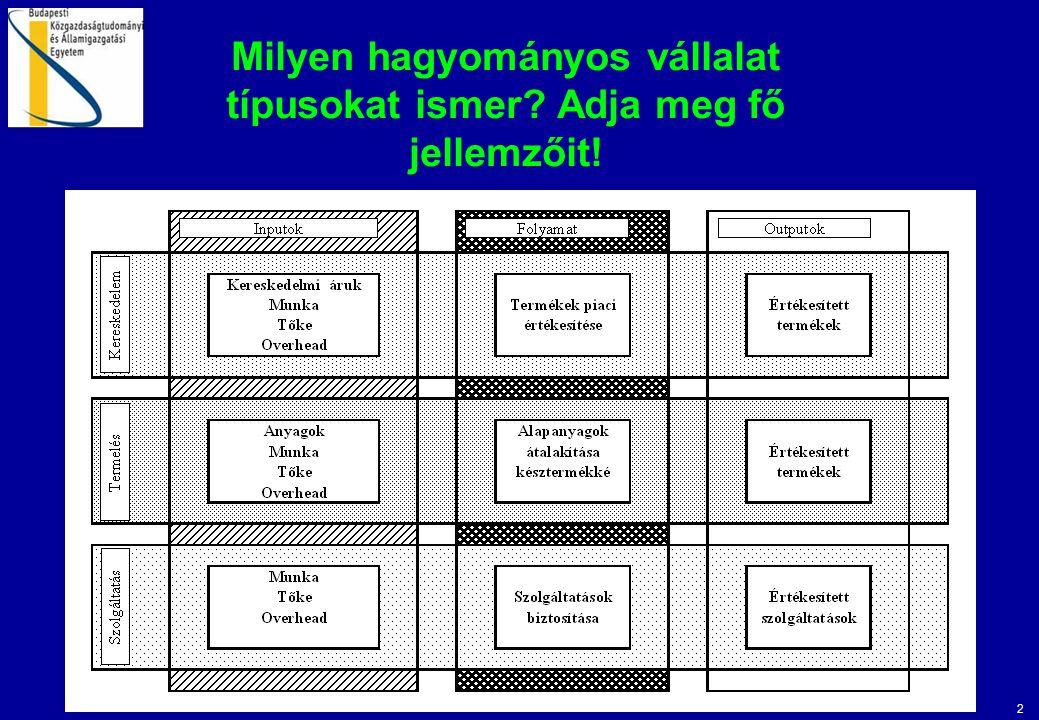 2 Milyen hagyományos vállalat típusokat ismer? Adja meg fő jellemzőit!