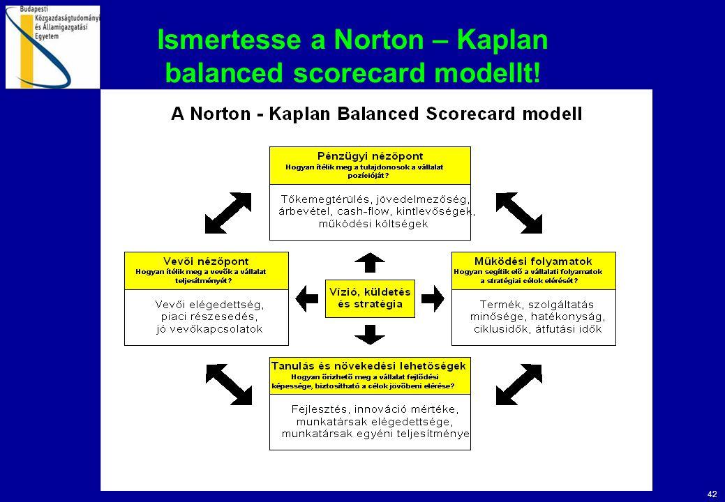 42 Ismertesse a Norton – Kaplan balanced scorecard modellt!