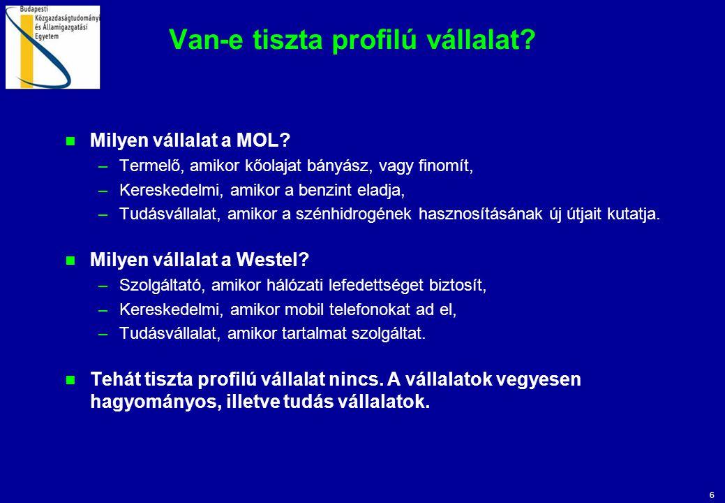 6 Van-e tiszta profilú vállalat? Milyen vállalat a MOL? –Termelő, amikor kőolajat bányász, vagy finomít, –Kereskedelmi, amikor a benzint eladja, –Tudá
