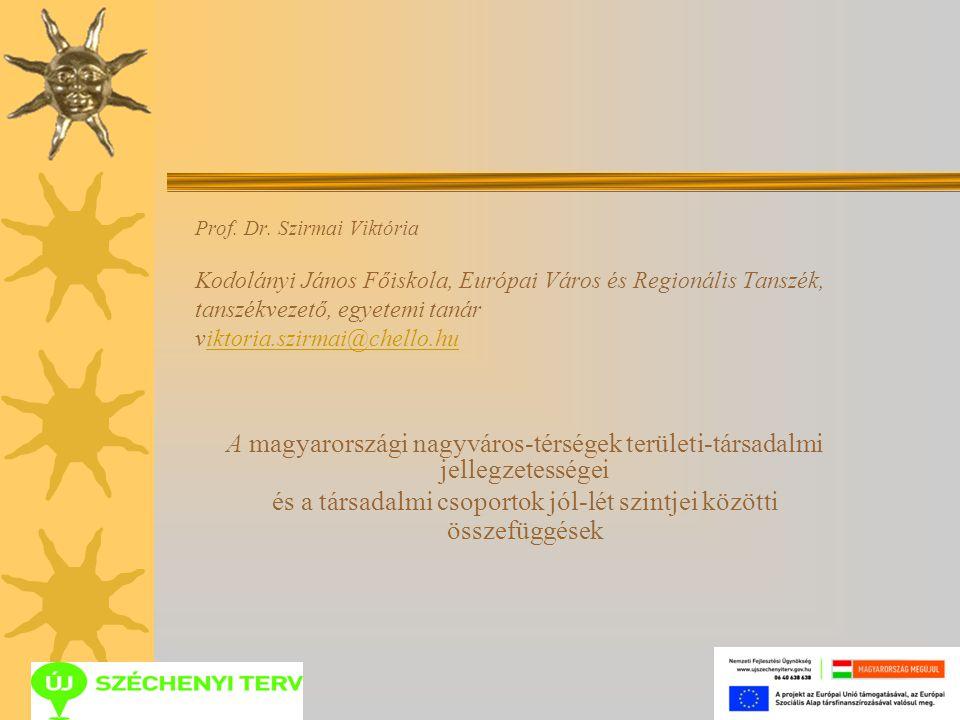 Prof. Dr. Szirmai Viktória Kodolányi János Főiskola, Európai Város és Regionális Tanszék, tanszékvezető, egyetemi tanár viktoria.szirmai@chello.huikto