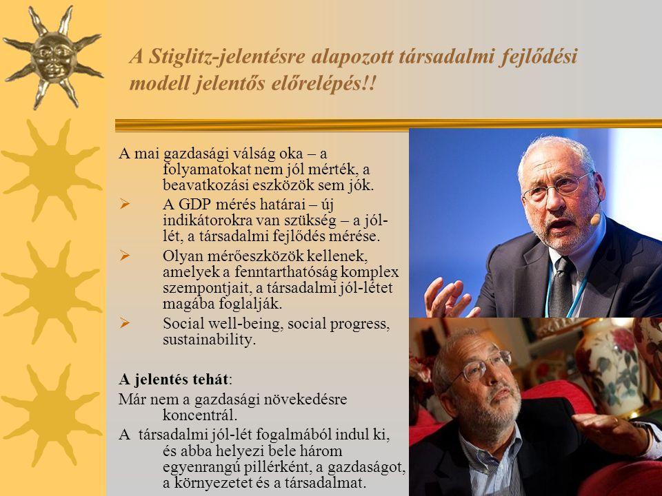 A Stiglitz-jelentésre alapozott társadalmi fejlődési modell jelentős előrelépés!! A mai gazdasági válság oka – a folyamatokat nem jól mérték, a beavat