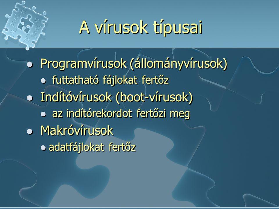 A vírusok típusai Programvírusok (állományvírusok) futtatható fájlokat fertőz Indítóvírusok (boot-vírusok) az indítórekordot fertőzi meg Makróvírusok adatfájlokat fertőz Programvírusok (állományvírusok) futtatható fájlokat fertőz Indítóvírusok (boot-vírusok) az indítórekordot fertőzi meg Makróvírusok adatfájlokat fertőz