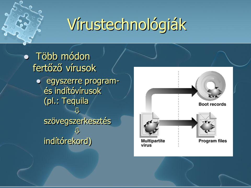 Vírustechnológiák Több módon fertőző vírusok egyszerre program- és indítóvírusok (pl.: Tequila  szövegszerkesztés  indítórekord) Több módon fertőző vírusok egyszerre program- és indítóvírusok (pl.: Tequila  szövegszerkesztés  indítórekord)