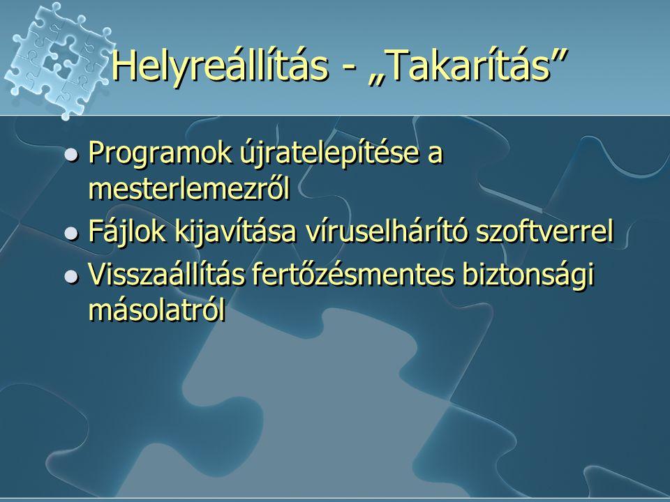 """Helyreállítás - """"Takarítás Programok újratelepítése a mesterlemezről Fájlok kijavítása víruselhárító szoftverrel Visszaállítás fertőzésmentes biztonsági másolatról Programok újratelepítése a mesterlemezről Fájlok kijavítása víruselhárító szoftverrel Visszaállítás fertőzésmentes biztonsági másolatról"""