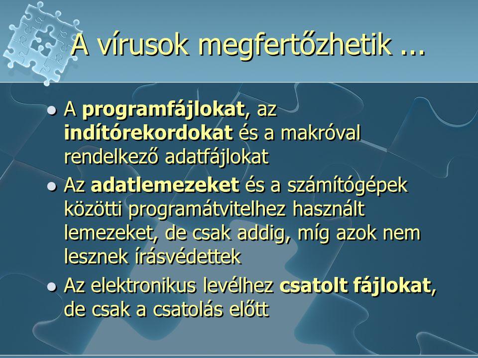 """Hoaxok Átverések, kacsák Elektronikus levélben """"terjed Félrevezető információ küldése, majd továbbküldése minél több ismerősnek (pl.: téves vírusriasztás) Hoaxok Átverések, kacsák Elektronikus levélben """"terjed Félrevezető információ küldése, majd továbbküldése minél több ismerősnek (pl.: téves vírusriasztás) A vírusok típusai"""