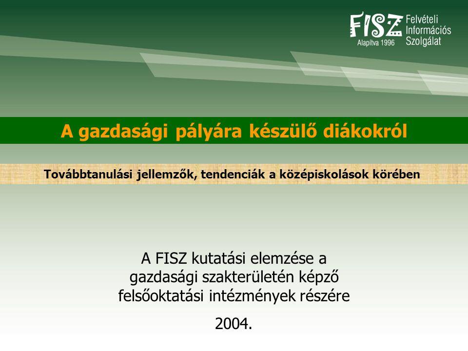 A gazdasági pályára készülő diákokról A FISZ kutatási elemzése a gazdasági szakterületén képző felsőoktatási intézmények részére 2004. Továbbtanulási