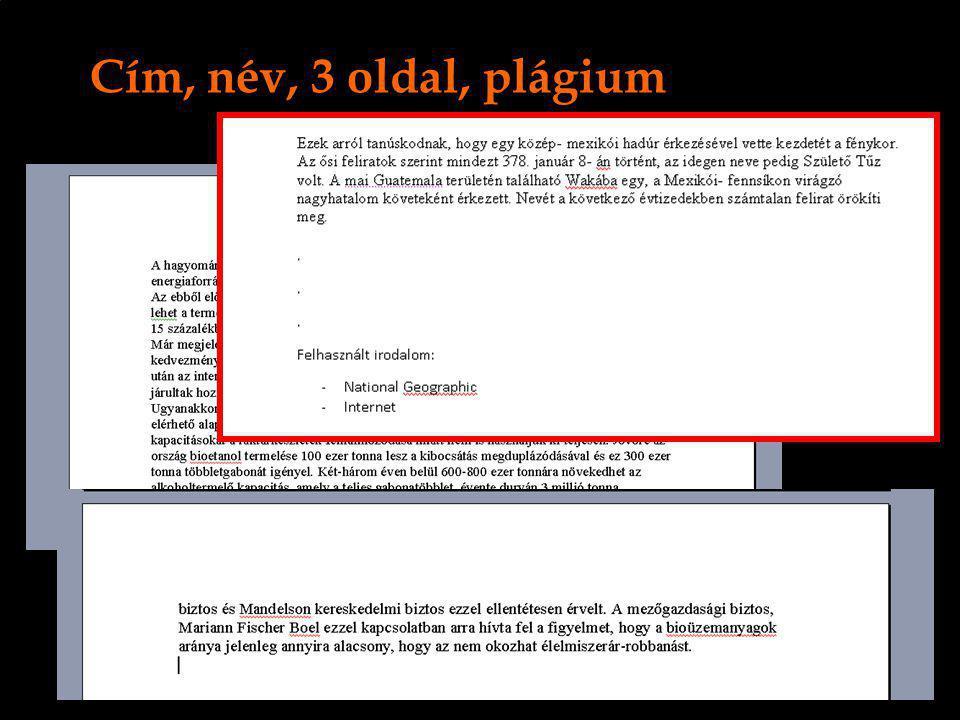 Cím, név, 3 oldal, plágium