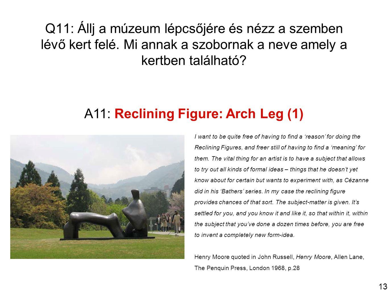 13 Q11: Állj a múzeum lépcsőjére és nézz a szemben lévő kert felé.