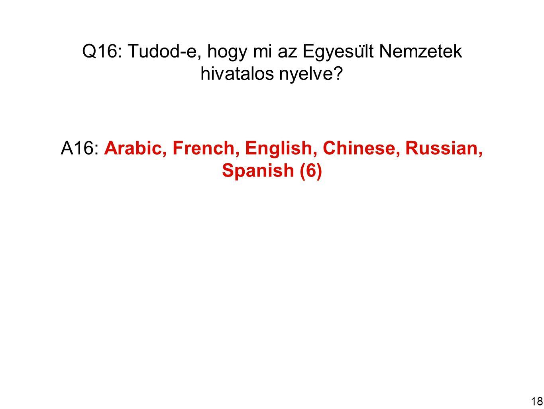 18 Q16: Tudod-e, hogy mi az Egyesu ̈ lt Nemzetek hivatalos nyelve.