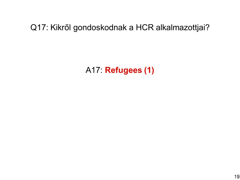 19 Q17: Kikről gondoskodnak a HCR alkalmazottjai A17: Refugees (1)