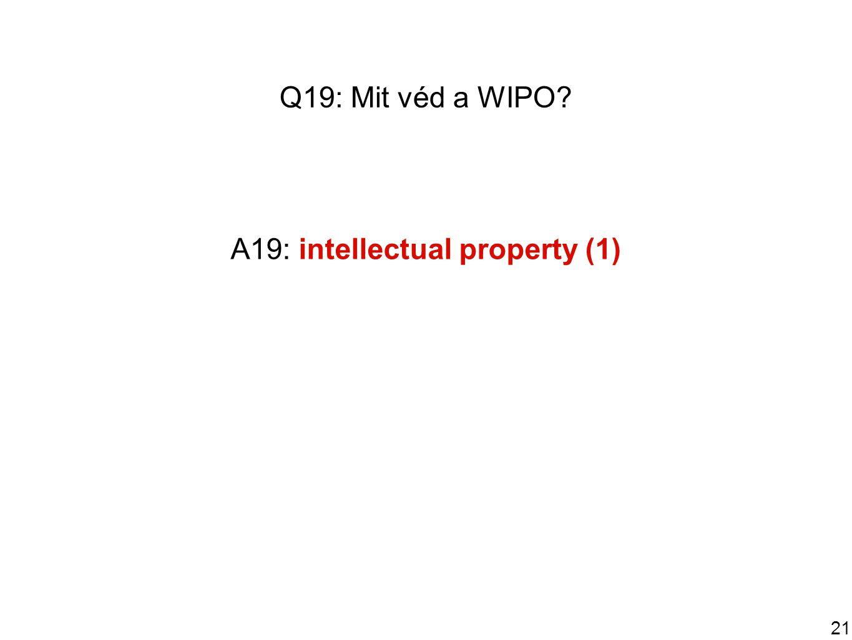 21 Q19: Mit véd a WIPO A19: intellectual property (1)
