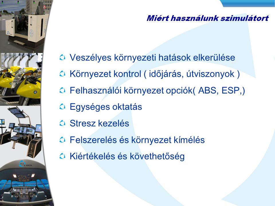 Veszélyes környezeti hatások elkerülése Környezet kontrol ( időjárás, útviszonyok ) Felhasználói környezet opciók( ABS, ESP,) Egységes oktatás Stresz