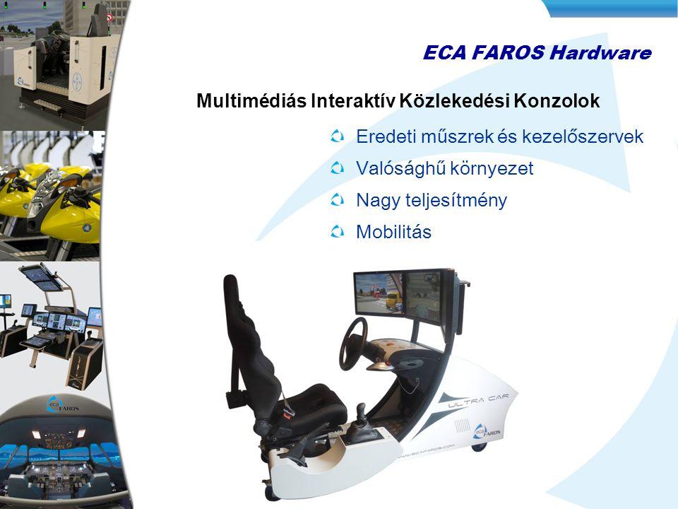 Eredeti műszrek és kezelőszervek Valósághű környezet Nagy teljesítmény Mobilitás ECA FAROS Hardware Multimédiás Interaktív Közlekedési Konzolok