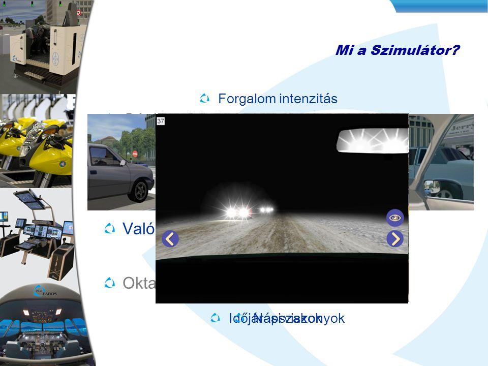 Mi a Szimulátor? Gépjármű fizikai modellezése 3D virtuális Adatbázis Valós időben generált szituációk Oktatási tematika Forgalom intenzitás Időjárási