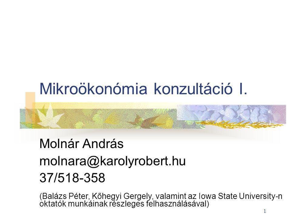 1 Mikroökonómia konzultáció I.