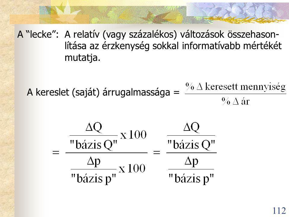 112 A lecke :A relatív (vagy százalékos) változások összehason- lítása az érzkenység sokkal informatívabb mértékét mutatja.