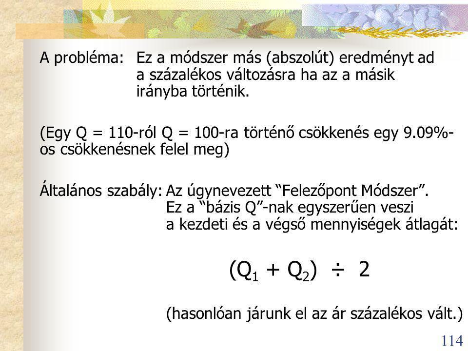 114 A probléma:Ez a módszer más (abszolút) eredményt ad a százalékos változásra ha az a másik irányba történik.