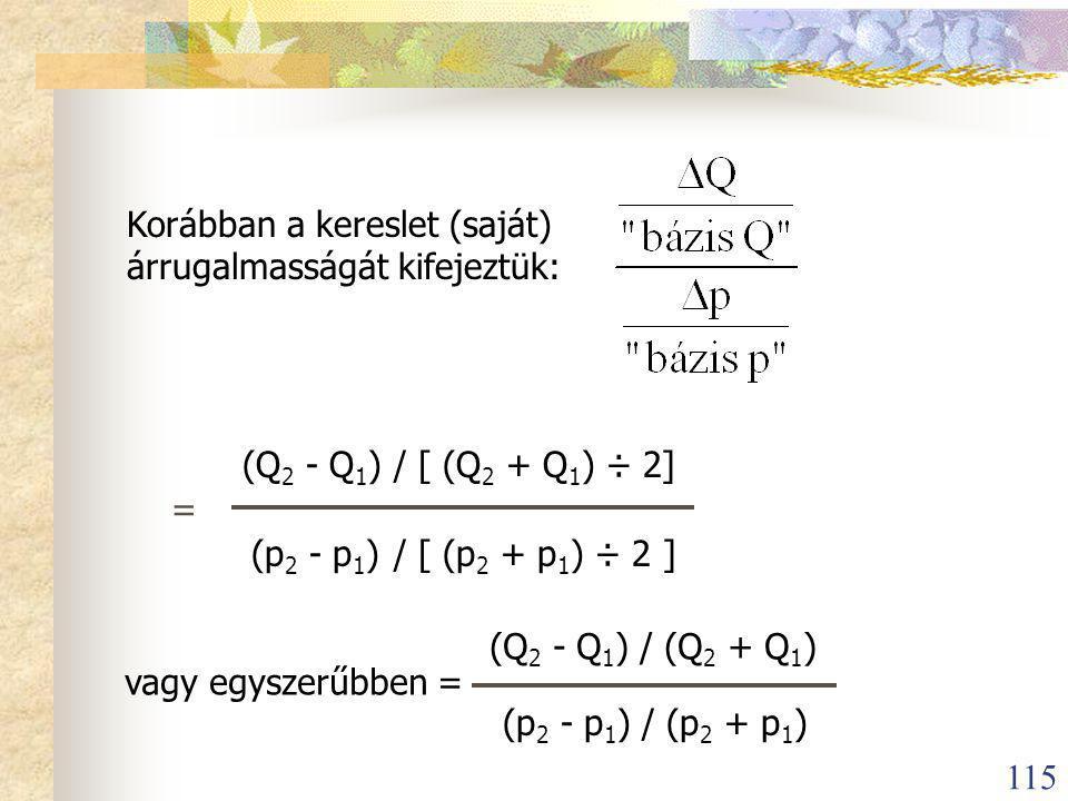 115 Korábban a kereslet (saját) árrugalmasságát kifejeztük: = (Q 2 - Q 1 )/ [ (Q 2 + Q 1 ) ÷ 2] (p 2 - p 1 )/ [ (p 2 + p 1 ) ÷ 2 ] vagy egyszerűbben = (Q 2 - Q 1 ) / (Q 2 + Q 1 ) (p 2 - p 1 ) / (p 2 + p 1 )